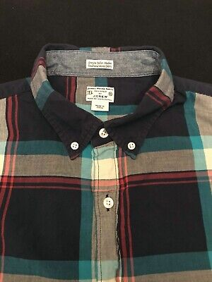 $14.95 • Buy J.CREW Blue Teal Multicolored Indian Madras Plaid Button Down XL Xtra-Large WOW!