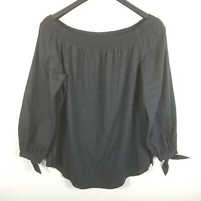$ CDN35.29 • Buy W By Worth Black Off The Shoulder Blouse Women Large Top Tie Sleeves Cotton L