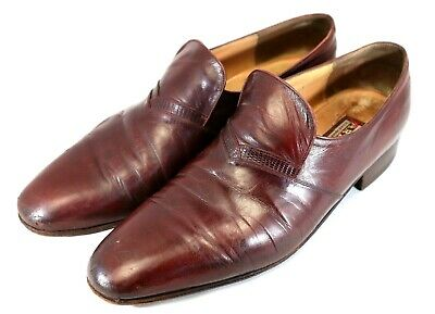 $ CDN111.16 • Buy Men's Star Artioli Burgundy Leather Dress Shoes Size 10.5 D Hand Made In Italy