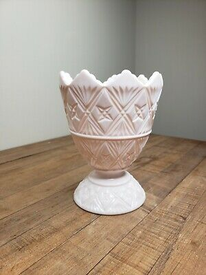 $19 • Buy Vintage Pink Milk Glass Footed Compote Bowl  NAPCO 2255