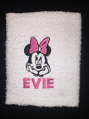 Personalised Embroidered Disney Minnie Mouse Face Flannel • 6.99£