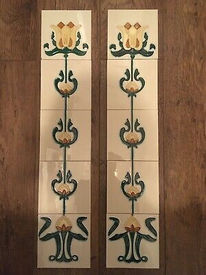 Victorian Style Fireplace Tiles - Set Of 10 -Yellow/Ivory Tubelined Tulip Design • 65£