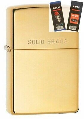 $18.63 • Buy Zippo 254 Solid Brass Full Size Lighter With *FLINT & WICK GIFT SET*