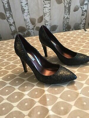 Womems Next Pewter Sparkly Court High Heels Size 3 • 6£