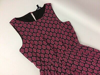 Girls Dress Age 11 Magenta And Black Geometric Print High Low Hem Part Lined • 7.19£