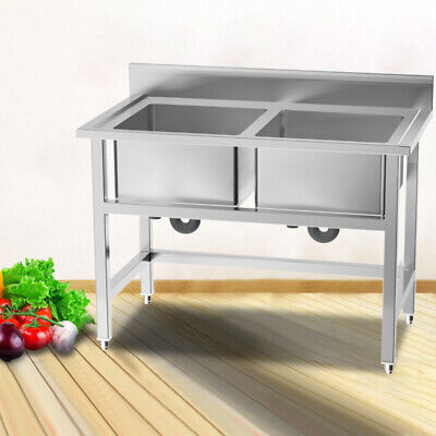 Commercial Sink Catering Kitchen Stainless Steel Wash Basin Double Bowl Drainer • 219.95£