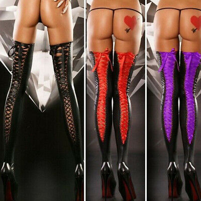EG_ FT- Women Sexy Faux Leather Thigh High Stockings Lace Up Bandage Long Socks  • 4.61£