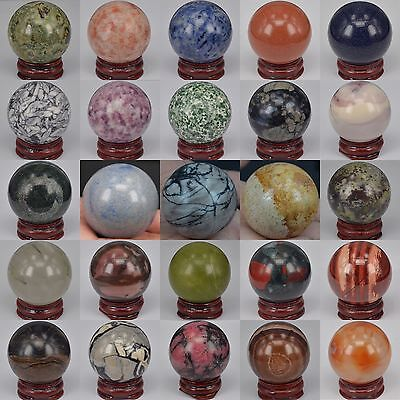 $8.54 • Buy 40MM Wholesale Lot Mix Natural Gemstone Sphere Crystal Healing Massager BALL