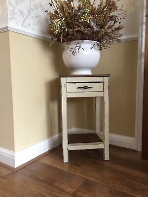 Side Table With Shelf & Drawer,Wood,shabby Chic Annie Sloan Chalk Paint • 36£