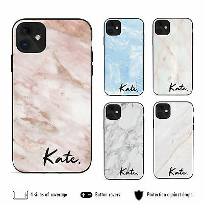 AU12.99 • Buy IPhone 11 Pro Max XS XR X 8 7 6s Plus Shockproof Case Marble 7 Personalised Name