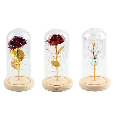 Romantic Forever Galaxy Gold Rose Flower With Love Base Mothers Day Gift • 8.99£