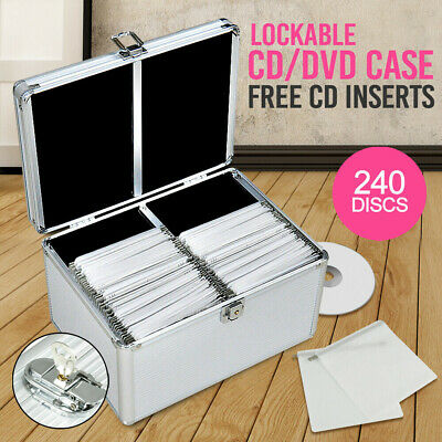 AU39.99 • Buy 240 Discs Aluminium CD DVD Cases Bluray Lock Storage Box Organizer Free Inserts