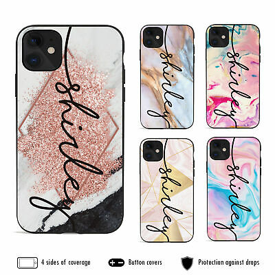 AU12.99 • Buy IPhone 11 Pro Max XS XR X 8 7 6s Plus Shockproof Case Marble 9 Personalised Name