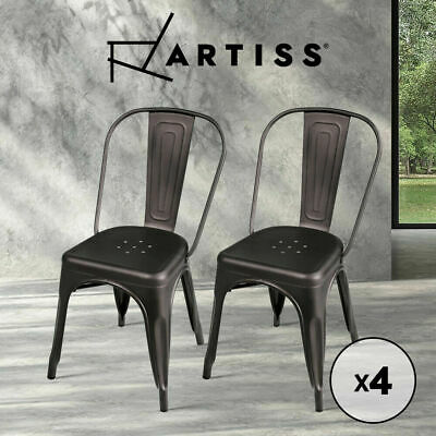 AU153.50 • Buy Artiss 4 X Replica Tolix Dining Chairs Metal Steel Bar Stools Chair Gunmetal