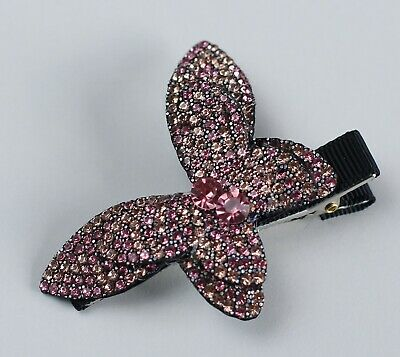 BLING Hair Clip PINK Diamantes Crystals Butterfly Black Hair Slide Hair Grip NEW • 8.99£