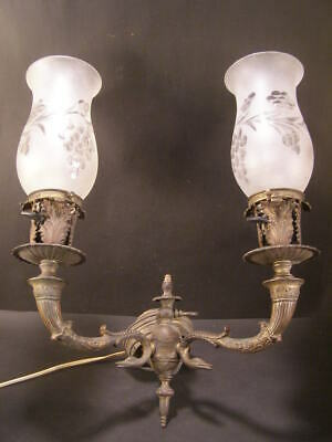 $499.95 • Buy 19c Victorian Gothic Serpent Bronze Sconce Wall Gas Cut ShadeLamp Light Fixture