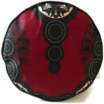 African Print Fabric Black Faux Leather Handmade Pouffe  Floor Cushion Footstool • 25£