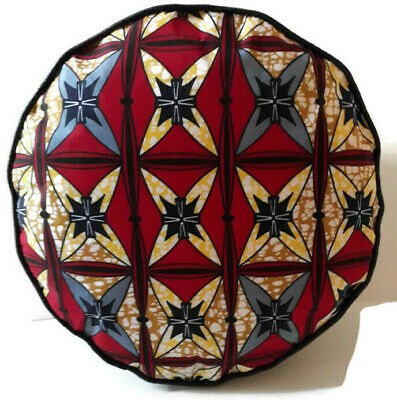 African Print Black Faux Leather Handmade Pouffe Floor Cushion Footstool 2 • 25£