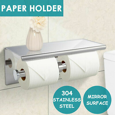 AU29.99 • Buy 304 Stainless Steel Double Toilet Paper Roll Holder Strong Hook Bathroom