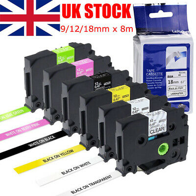 Compatible With Brother TZ Tze Label Tape Fits P-Touch Printer 18mm/12mm/9mm X8m • 3.79£