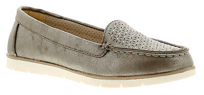 Ever So Soft Gypsy Womens Ladies Flats Shoes Pewter UK Size • 17£