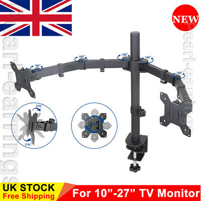 Dual Desk Mount For 10 - 27 In Articulating Ajustable Monitor Stand With Clamp P • 20.99£