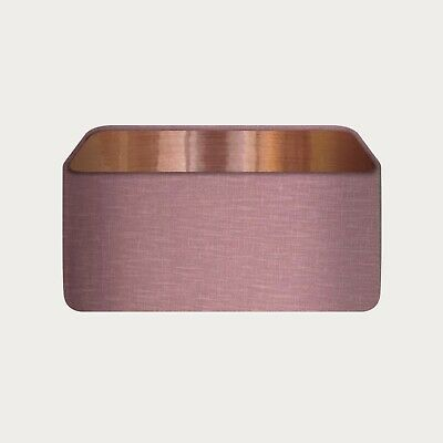 £45.50 • Buy Rounded Rectangle Lampshade 100% Mauve Linen With Brushed Copper Lining