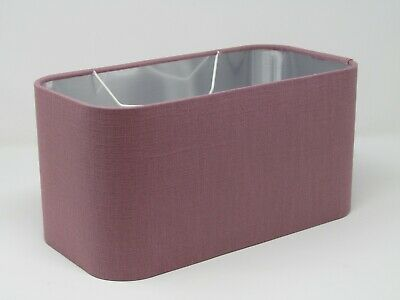 £31.50 • Buy Rounded Rectangle Lampshade 100% Mauve Linen With Brushed Silver Metallic Lining
