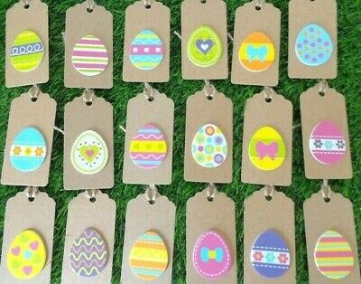 Easter Gift Tags Pack 20 Handmade Easter Egg Hunt Name Labels Kraft Card 9x4cm • 2.45£
