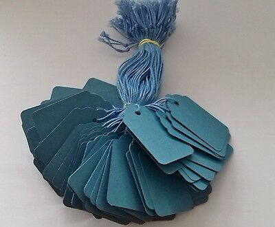 100 Blue Strung Price Tags 48mm X 30mm Swing Tickets Gift Labels Blue String • 1.95£