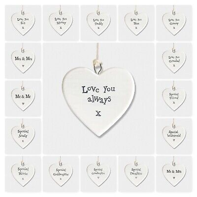 East Of India Friends & Family White Porcelain Heart Gift Decoration 4.5x4.5cm • 3.99£