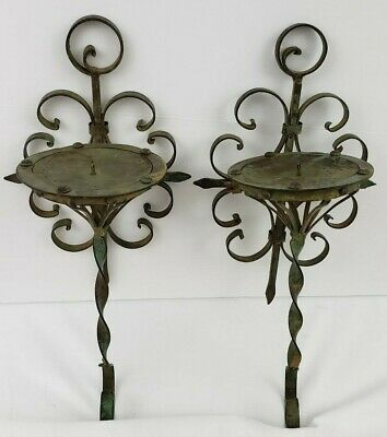 Pair Antique Scroll Wrought Iron Metal Candle Holder Sconce Verdigris Green Tole • 38.70£