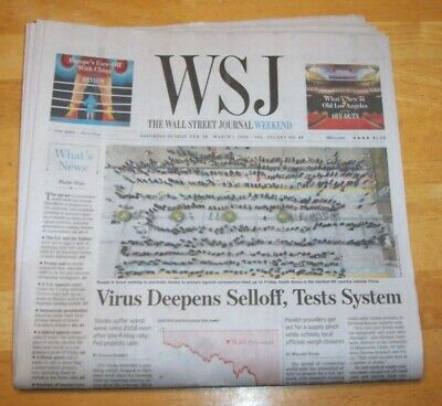 $8 • Buy THE WALL STREET JOURNAL ~ 2/29/2020~deep Selloff Tests System