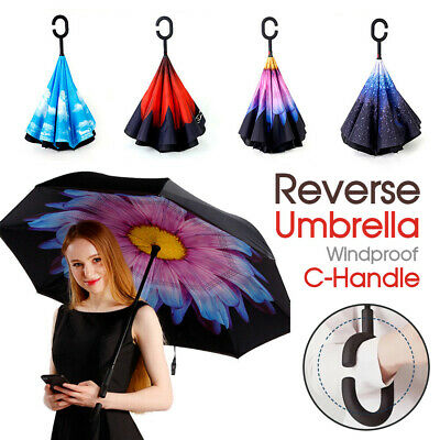 AU15.49 • Buy Upside Down Reverse Umbrella Double Layer Windproof Inside-Out Inverted C-Handle