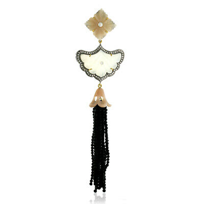 $599.25 • Buy Pave Diamond Carved Moonstone Onyx Beads Silver Tassel Pendant 18K Gold Jewelry