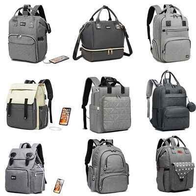 Kono Grey Baby Mummy Diaper Nappy Backpack Changing Shoulder Bag Pram Clips • 15.39£