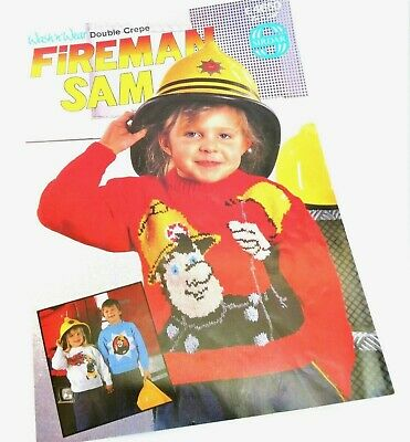 Sirdar E4650 Fireman Sam Sweater Knitting Pattern 22  - 28  Vintage 1989 Vgc • 2.25£