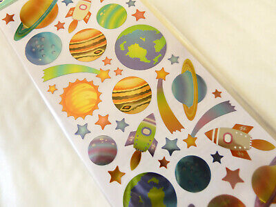 Small Kids Space, Planet & Spaceship Rocket Labels Stickers For Craft WD-52 • 2.50£