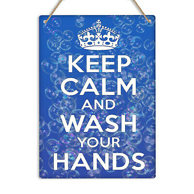 KEEP CALM & WASH YOUR HANDS Metal Wall Sign Plaque Health Hygiene Bathroom Decor • 8.99£