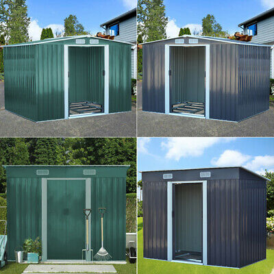 Garden Pent Metal Shed 4ft To 10ft Foundation Storage Unit Tool House Organizer • 248.95£