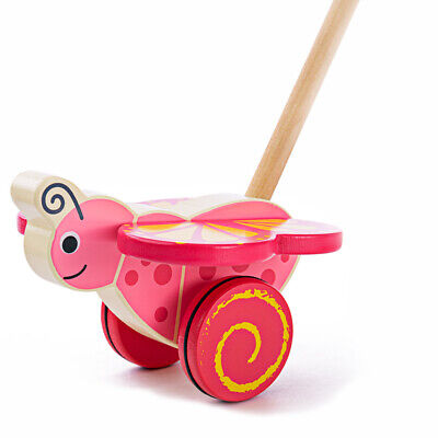 Bigjigs Toys Wooden Butterfly Push Along Walker Walking Mobility Baby Toddler • 12.98£