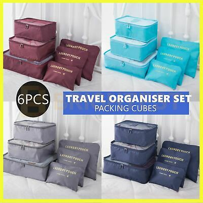AU11.95 • Buy 6pcs Packing Cubes Travel Pouches Luggage Organisers Clothes Suitcase Storage