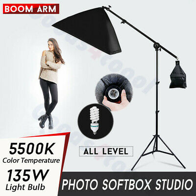 675W Photo Studio Softbox Continuous Lighting Soft Box Boom Arm Light Stand Kit • 35.93£