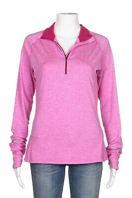 NIKE Dri-Fit Fitted Shirt Small Pink 1/4 Zip Mock Neck Long Sleeve Top Tee Track • 19.36£