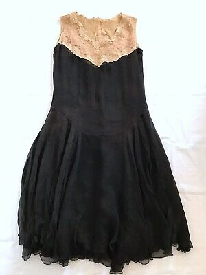 $89.99 • Buy 1920's Black Silk And Lace Floral Flapper Dress Antique Vintage Small As IS