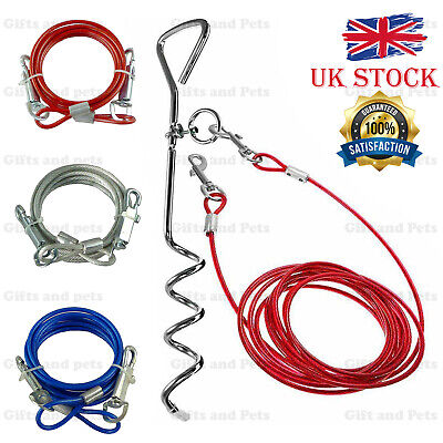 Pet Dog 6ft Garden Tie Out Lead Wire Cable And Spiral Ground Stake Spike 3 Color • 2.95£