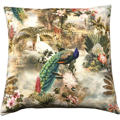 Peacock Jungle Cushion Cover | French 50x50cm Designer 100% Cotton Cushion • 19.95£