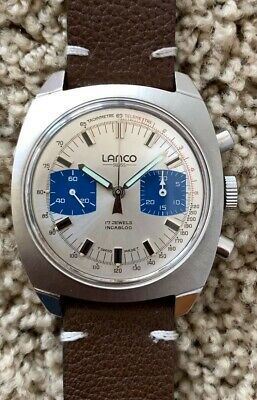$ CDN1016.09 • Buy 1970s Vintage Lanco  Monaco  Racing Panda Valjoux 7733 Chronograph 38mm Mint.