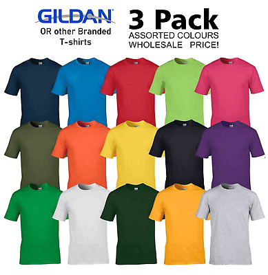 Unisex 3 Pack Gildan Or Other Branded Adult T-shirt Assorted Colours Wholesale • 9.97£