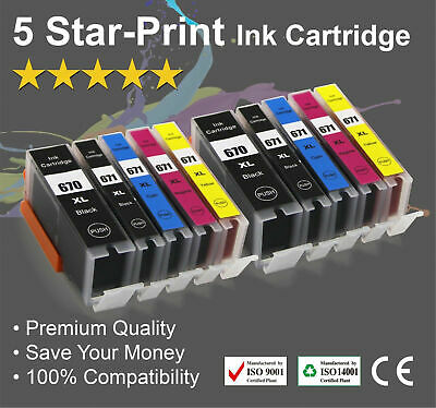 AU14.68 • Buy 10 Ink Cartridges For Canon PGI-670XL CLI671XL PIXMA MG5760 MG5765 MG5766 MG6860